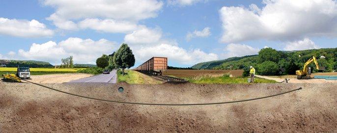 Instalação por perfuração dirigida, i.e.sem recurso a abertura vala  - tubagem em ferro fundido dúctil - Saint-Gobain PAM
